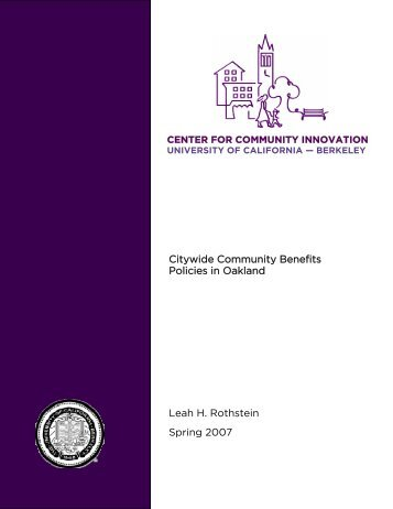 Citywide Community Benefits Policies in Oakland Leah H. Rothstein ...