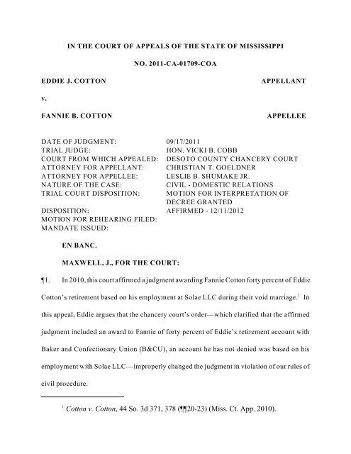 Mississippi Rules Of Civil Procedure >> Cotton V Cotton Mississippi Supreme Court