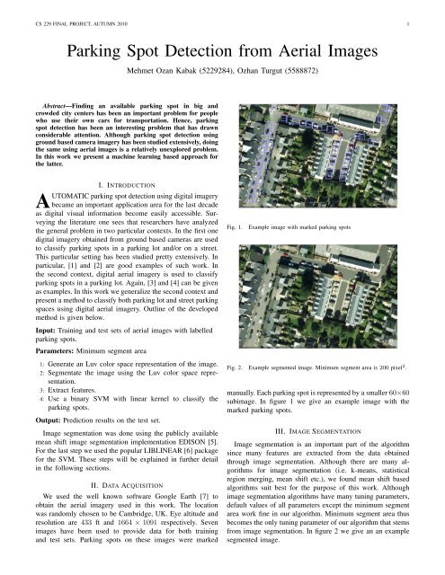 Parking Spot Detection from Aerial Images - CS 229