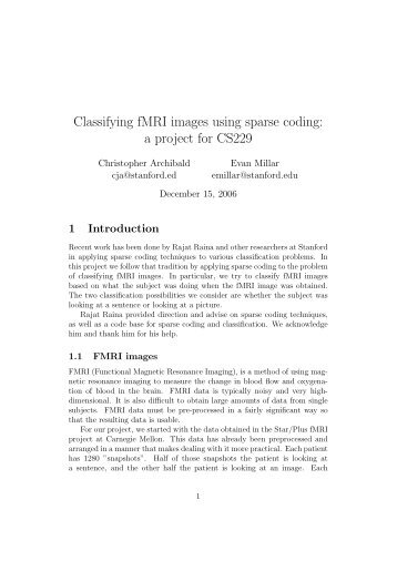 Classifying fMRI images using sparse coding - CS 229
