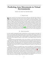 Predicting Arm Movements in Virtual Environments - CS 229