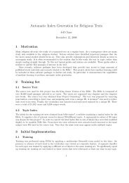 Automatic Index Generation for Religious Texts - CS 229