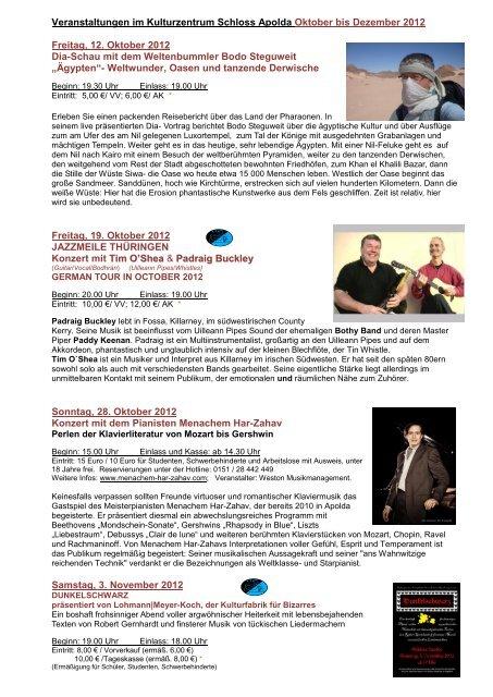 finden Sie unsere Veranstaltungen von Oktober bis - Apolda