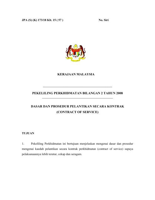 Dasar Dan Prosedur Pelantikan Secara Kontrak Contract Of Jpa