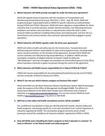 OSHA – HIOSH Operational Status Agreement (OSA) - FAQs