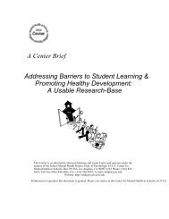 Addressing Barriers to Student Learning & Promoting Healthy