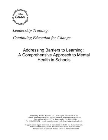 Addressing Barriers To Learning Ucla School Mental Health Project