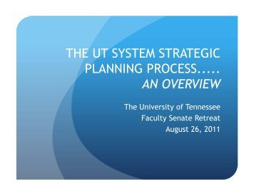 the ut system strategic planning process..... an overview