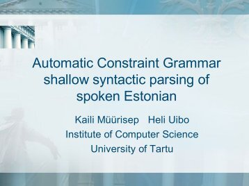 Automatic Constraint Grammar shallow syntactic parsing of spoken ...