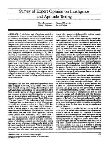 Survey of Expert Opinion on Intelligence and Aptitude Testing