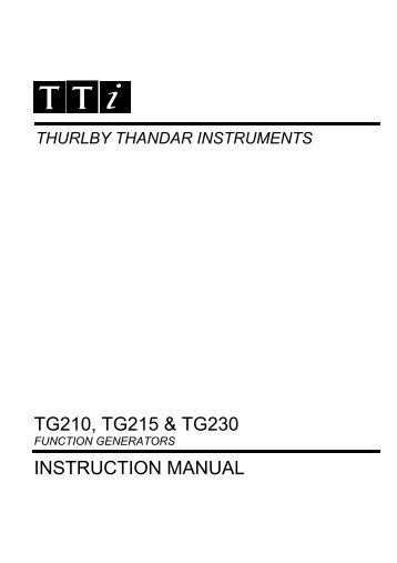 TG200 Series Instruction Manual - Iss 8
