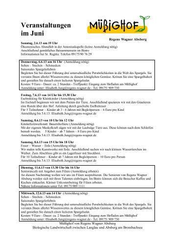 Programm Müßighof im Juni 2013 - Regens Wagner Absberg