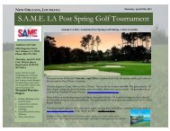 OUISIANA S.A.M.E. LA Post Spring Golf Tournament - Society of ...