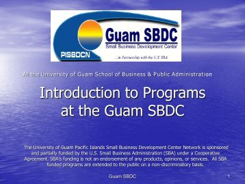 Introduction to Programs at the Guam SBDC, MAY 2012