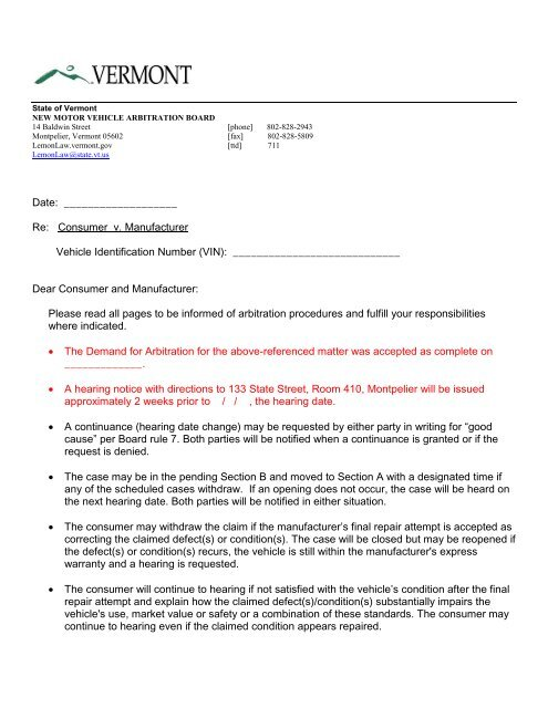 Case Acceptance Letter - Vermont Department of Motor Vehicles