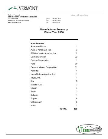 Manufacturer Summary Fiscal Year 2006 - Vermont Department of ...