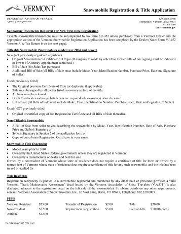Snowmobile Registration & Title Application - Vermont Department ...