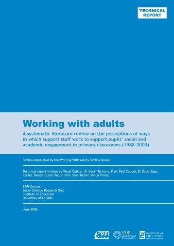 Working With adults - EPPI-Centre - Institute of Education, University ...