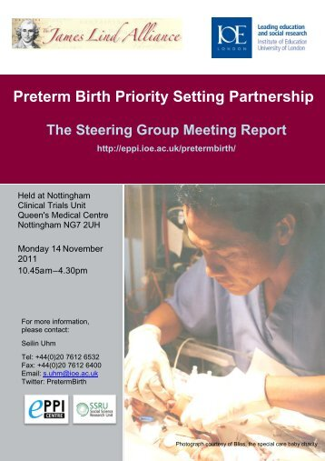 Preterm Birth Steering Group Meeting Report - EPPI-Centre ...
