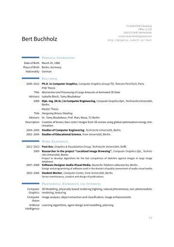 Bert Buchholz – - Computer Graphics and Visualization - TU Delft