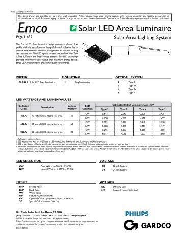 Solar Area Lighting System Emco LED Area ... - Gardco Lighting