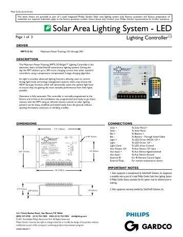 Solar Area Lighting System - Controller - Submittal ... - Gardco Lighting
