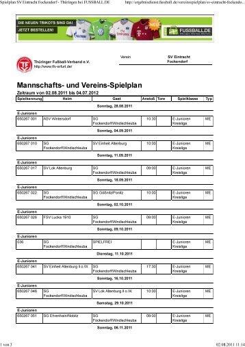 Mannschafts- und Vereins-Spielplan - TSV Windischleuba