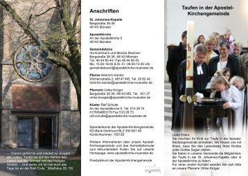 Taufen in der Apostel- Kirchengemeinde Anschriften