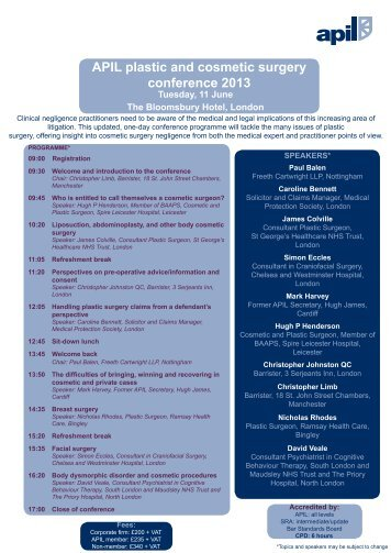 APIL plastic and cosmetic surgery conference 2013