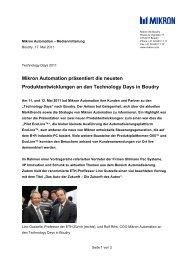 Mikron Automation präsentiert die neusten Produktentwicklungen an ...