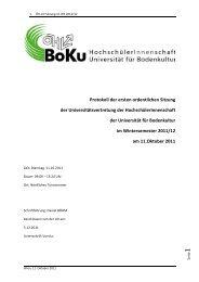 1.0 Protokoll der UV - Sitzung am 11.10.2011 - ÖH BOKU