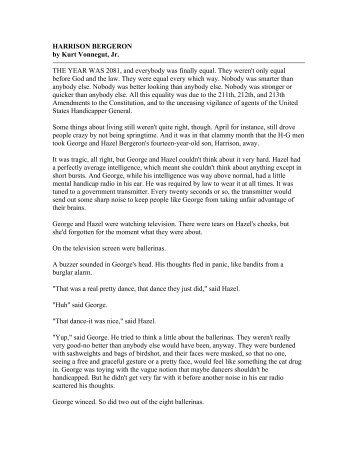 Apa Format Essay Paper Harrison Bergeron By Kurt Vonnegut Jr The Year Was  Graduating High School Essay also General English Essays Harrison Bergeron  Teen Thoughts On Democracy English Class Reflection Essay