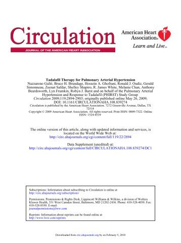 Tadalafil Therapy for Pulmonary Arterial Hypertension