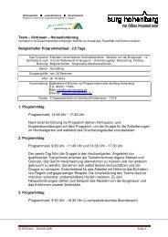 2,5 Tage 1. Programmtag Programmzeit: 14:00 ... - Burg Hohenberg
