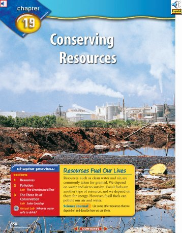 Chapter 19: Conserving Resources