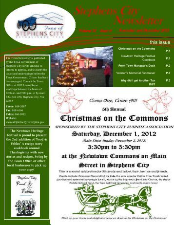 November and December Newsletter 2012 - Town of Stephens City