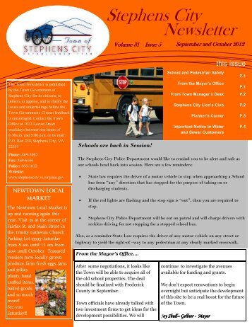 September and October Newsletter 2012 - Town of Stephens City