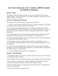 Our Bylaws - Una Voce