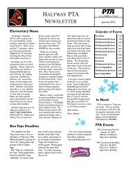 HALFWAY PTA NEWSLETTER - HalfwaySchools.org