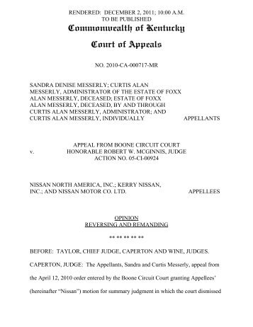 Commonwealth of Kentucky Court of Appeals - Lawyers USA Online