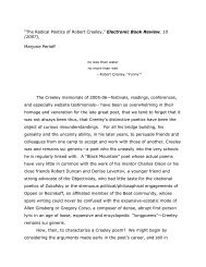 The Radical Poetics of Robert Creeley - Electronic Poetry Center