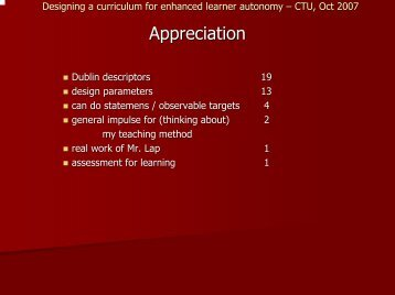 Designing a curriculum for enhanced learner autonomy – CTU, Oct ...