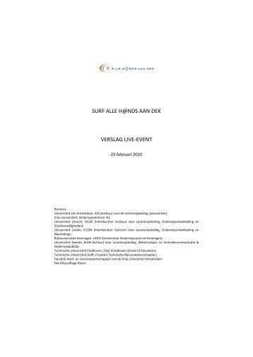 SURF ALLE H@NDS AAN DEK VERSLAG LIVE-EVENT - ILO