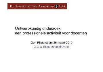 Ontwerpkundig onderzoek: een professionele activiteit voor ... - ILO