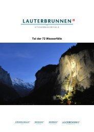 Tal der 72 Wasserfälle - Jungfrau Region
