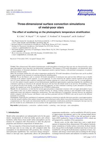 Three-dimensional surface convection simulations of ... - STARPLAN