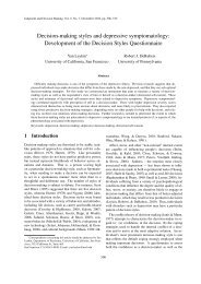 Development of the Decision Styles Questionnaire - Judgment and ...