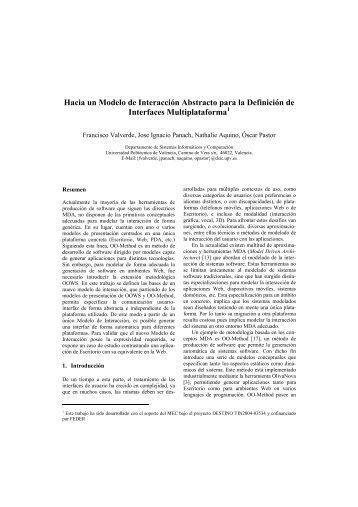 Hacia un Modelo de Interacción Abstracto para la Definición ... - AIPO