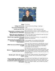 Timothy Kruse, PGA - Nebraska PGA