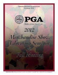 Merchandise Show, Education Seminar & Fall ... - Nebraska PGA